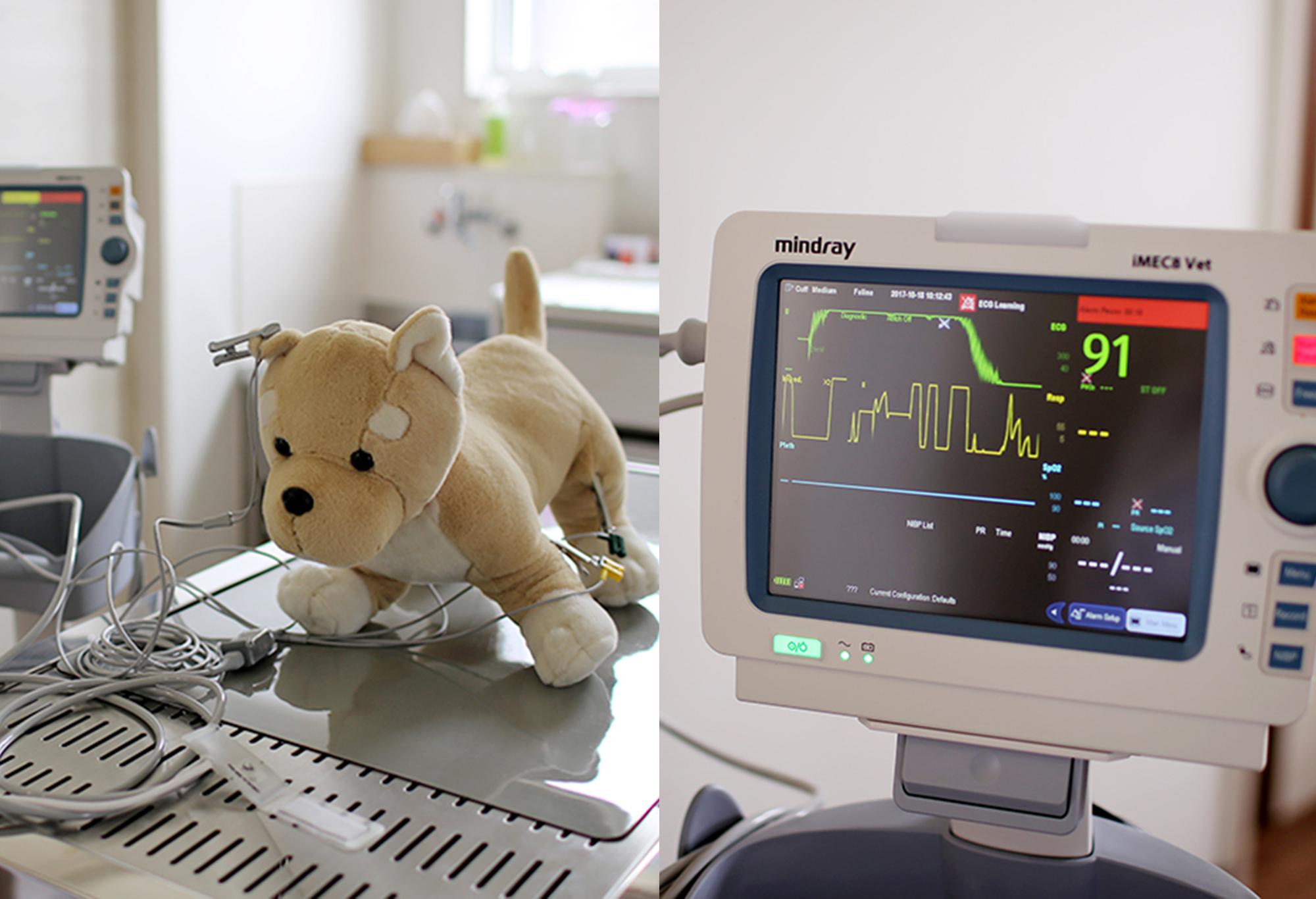 【生体モニター】<br /> 心電図・血圧・体内酸素飽和度などの状態がわかります。